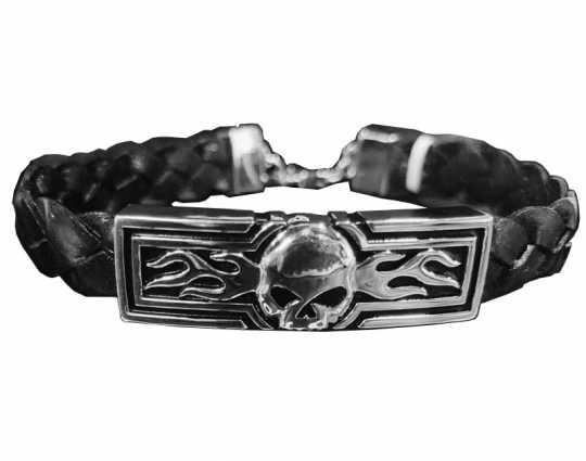 H-D Motorclothes Harley-Davidson Armband Flaming Skull Braided Leather  - HDB0444V