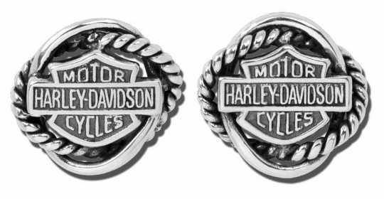 H-D Motorclothes Earrings circle post ruthenium b&s  - HDE0308