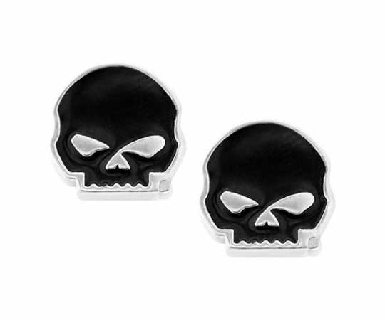 H-D Motorclothes Harley-Davidson Earrings Black Enamel Skull Post  - HDE0488