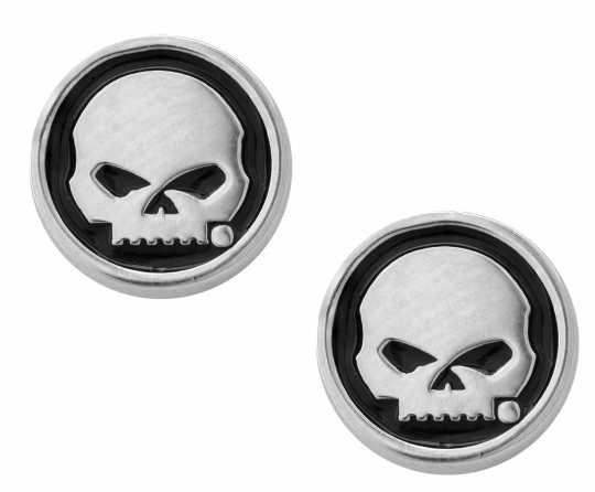 H-D Motorclothes Harley-Davidson Ohrringe Skull Black Enamel Cicle Post  - HDE0499