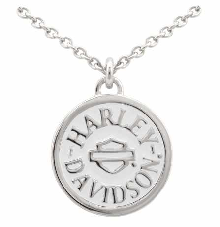 H-D Motorclothes H-D Necklace Round White Colored Enameled  - HDN0420-16
