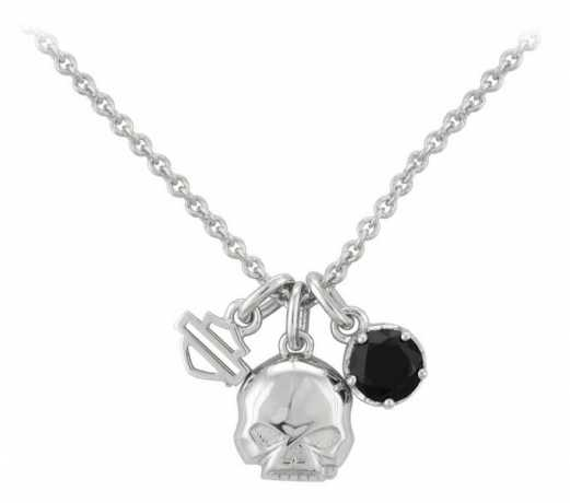 H-D Motorclothes Harley-Davidson Necklace Silver Skull & Stone Charm  - HDN0445-16