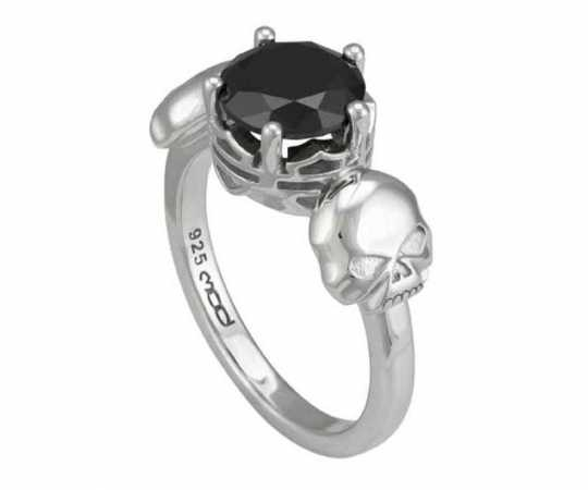 H-D Motorclothes Harley-Davidson Ring Silver Skull & Stone  - HDR0514