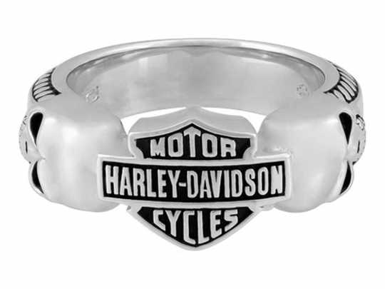 H-D Motorclothes Harley-Davidson Silver Ring Wicked Skulls Bar & Shield  - HDR0534V