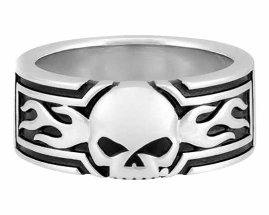 H-D Motorclothes Harley-Davidson Silver Ring Flaming Willie G Skull  - HDR0536V
