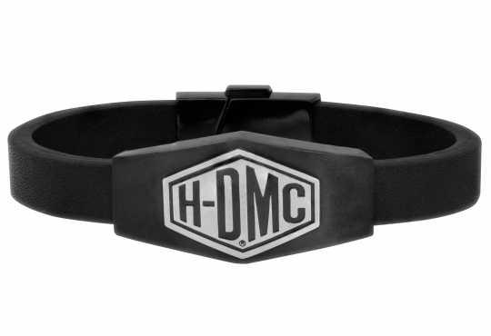 H-D Motorclothes Harley-Davidson Bracelet  leather H-DMC Black & Silver Matte  - HSB0193