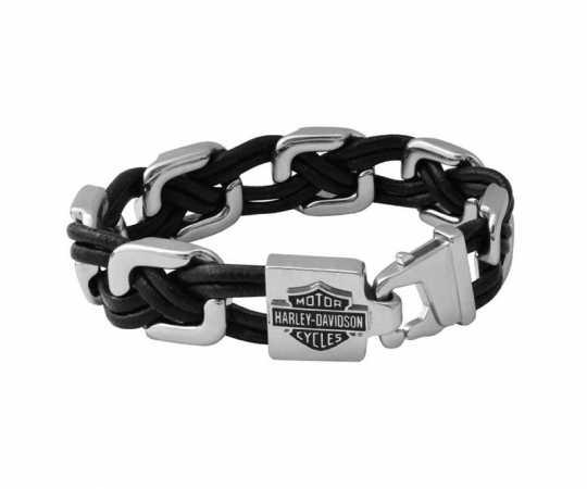 H-D Motorclothes Harley-Davidson Leder Armband Floating Links schwarz & silber  - HSB0206