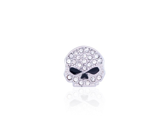 H-D Motorclothes Charm Willie G Skull Bling silver  - HSC0012