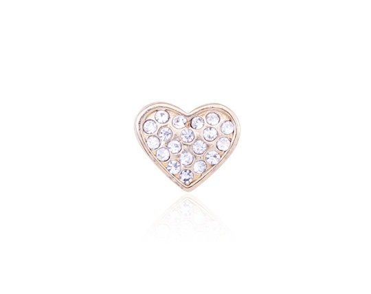 H-D Motorclothes Charm Puffy Heart Bling gold  - HSC0020