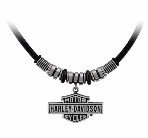H-D Motorclothes Harley-Davidson Halskette Vintage Bar & Shield Hardware & Leder  - HSN0069V