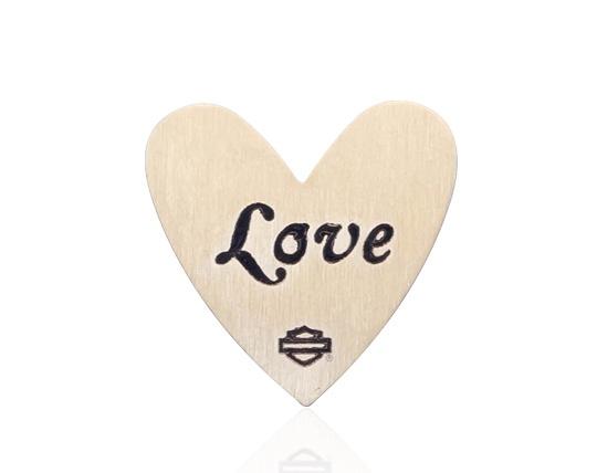 H-D Motorclothes H-D Plate Love Heart groß, gold  - HSP0024