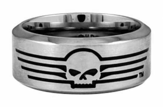 H-D Motorclothes Harley-Davidson Ring Skull with Lines  - HSR0027