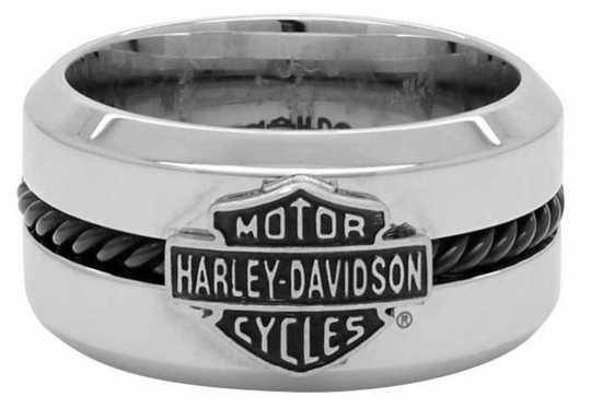H-D Motorclothes Harley-Davidson Ring Black Steel Wire Bar & Shield  - HSR0032V