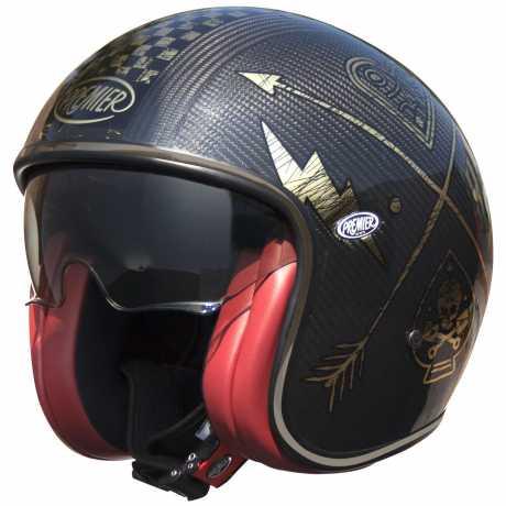 Premier Helmets Premier Vintage Jethelm Carbon NX, gold / chromed  - PR9VIN57V