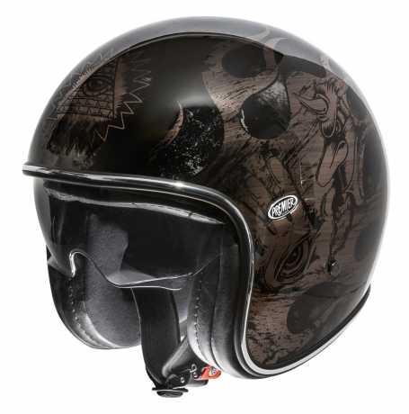 Premier Helmets Premier Vintage Jethelmet BD black & chromed  - PR9VIN77V