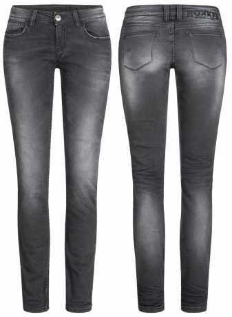 Rokker The Donna Damen Biker Jeans schwarz