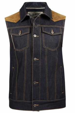 Rokker Rokker Mixed Vest Denim & Leather  - C1208V
