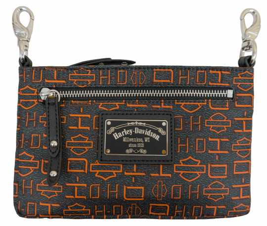 H-D Motorclothes Harley-Davidson Hip Bag Silky Nylon black & Orange  - SN5163