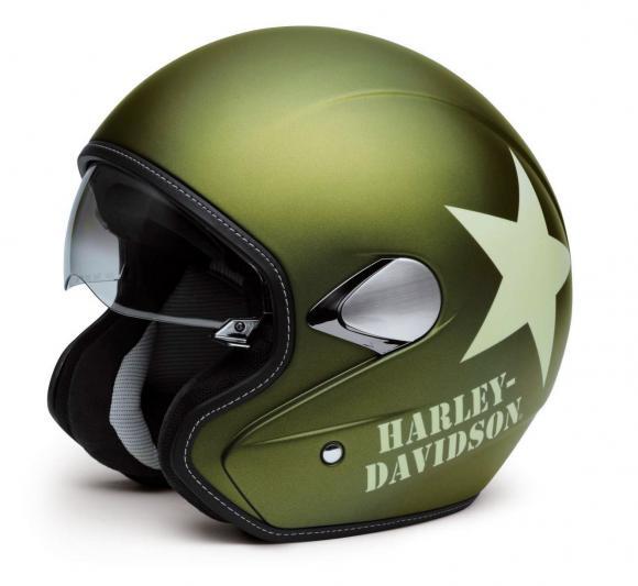 98241 16em harley davidson helm military retro 3 4 olive. Black Bedroom Furniture Sets. Home Design Ideas