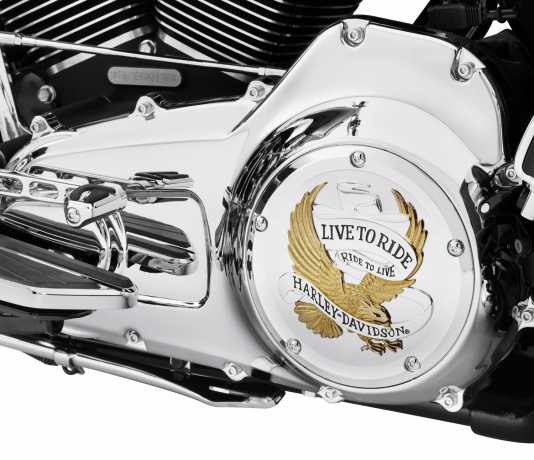 Harley-Davidson Derby Cover Live to Ride  Gold & chrome  - 25700472