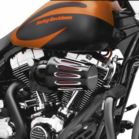 Harley-Davidson Screamin' Eagle Heavy Breather Cover Teardrop Cut Back Black with Logo  - 28739-10A