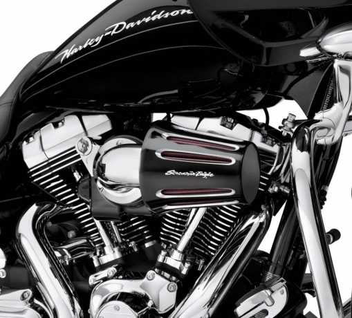Harley-Davidson Screamin' Eagle Heavy Breather Cover Teardrop Cut Back Black with Side Logo  - 29400061A