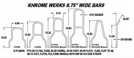 "Khrome Werks Khrome Werks Sissy Bar Lowboy 8.75"" black  - 63-1540"