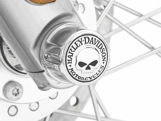 Harley-Davidson Willie G Skull Front Axle Nut Cover Kit chrome  - 43163-08A