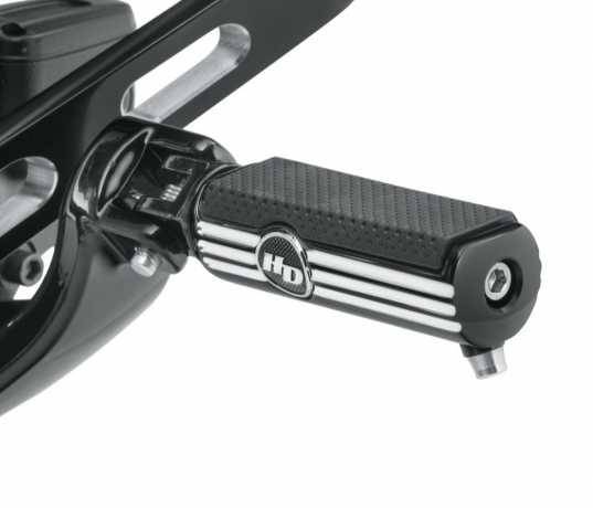 Harley-Davidson Defiance Rider Footpegs with Removable Wear Peg - Black Anodized Machine Cut  - 50500807