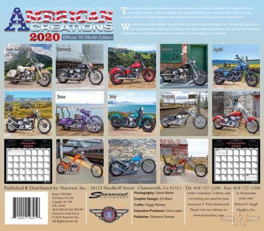 Custom Chrome American Creations Calendar 2020  - 64-4863