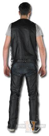 Custom Chrome Leather Chaps Unisex braided, black  - 68-5513V