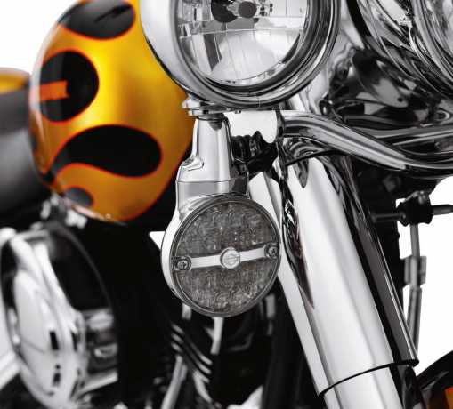 Harley-Davidson LED flat lens Turn Signals with Bar & Shield Logo  - 68435-10