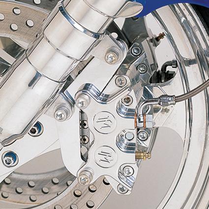 Performance Machine PM Classic 4-Kolben Bremssattel und Bremssattelhalter 125x4R vorn/lnks single, chrom  - 68-4400