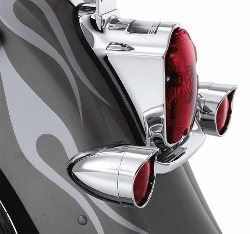 Harley-Davidson Turn Signal Trim Rings Bullet Rear, Red Lenses  - 69757-05