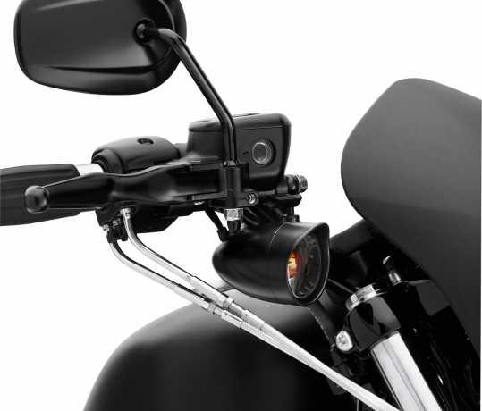 Harley-Davidson Bullet Blinker-Zierschirm vorn, getöntes Glas & orangene Birne, schwarz  - 73342-09