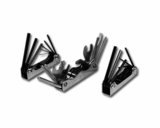 "Custom Chrome Folding Sockethead Wrenches 1/16"" - 1/4""  - 84-191"