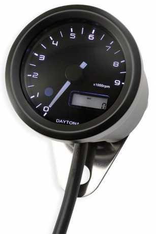 Daytona Japan Daytona Velona 48 mm Drehzahlmesser, Edelstahl schwarz  - 88-9015
