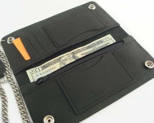 Amigaz Amigaz Geldbörse Leder XL mit verdeckten Knöpfen & Kette  - 88-9496
