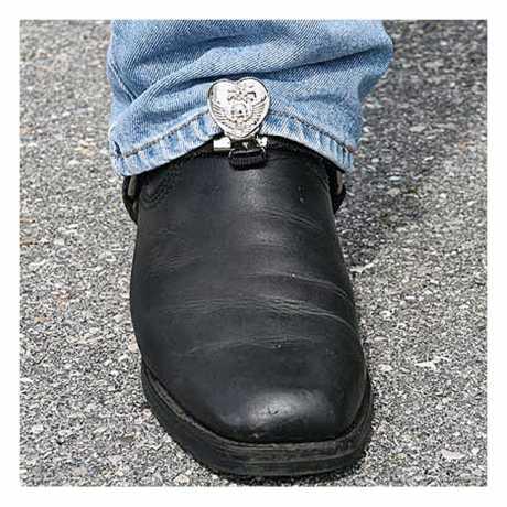 Ryder Clips Ryder Front Stirrups Boot Clips Heart/Skull Chrome  - 904316