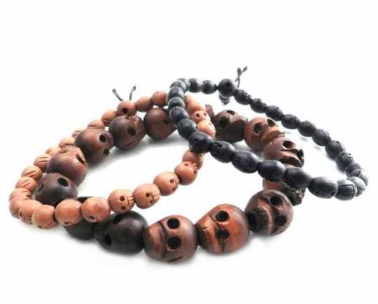 Amigaz Amigaz Bracelet 3 Wood Skull Bead Stretch  - 91-3784