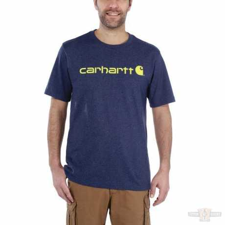 Carhartt Carhartt Logo Workwear T-Shirt Dark Cobalt Blue Heather  - 91-5126V