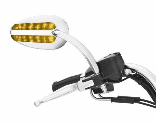 Harley-Davidson H-D Spiegel mit Zusatzbeleuchtung und Blinker chrom - 92059-07A