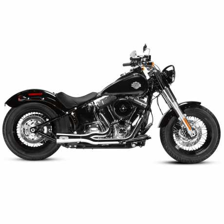 Arlen Ness Ness Magnaflow F-Bomb 2 into 1 Exhaust, chrome with gloss black end caps  - 60-7952