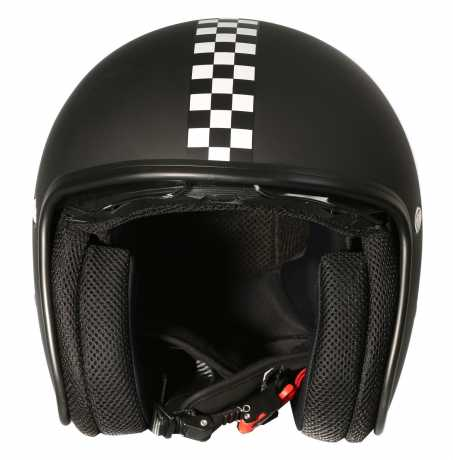 Premier Helmets Premier Vintage Jethelm CK 9 BM black & race flag  - PR9VIN44