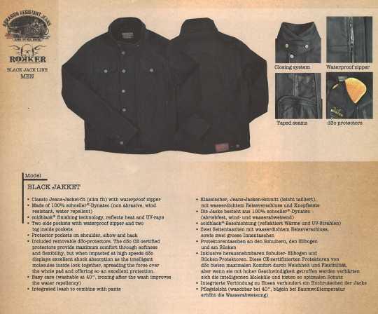 Rokker Rokker Black Jakket Bikerjacket  - ROKKER-BLACKJACK-JACKE