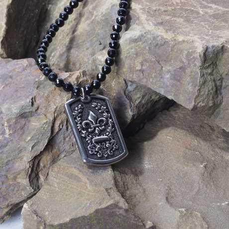 Rad Rocks Rad Rocks Necklace  Onyx facet. Plate Lilie  - RRKOF029/6-54