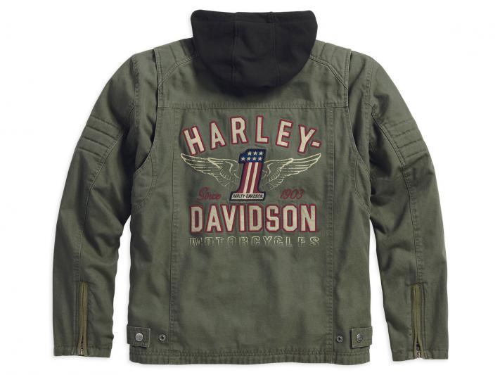98563 15vm harley davidson jacke long way gr n im. Black Bedroom Furniture Sets. Home Design Ideas