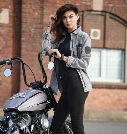 Thunderbike Clothing Thunderbike Damen Jeans Hemd Custom grau  - 19-12-1193V