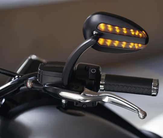 Harley-Davidson Spiegel mit Blinker & Positionslicht schwarz matt  - 56000081
