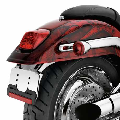 Harley-Davidson Custom LED Tail Lamp - Red Lens with Chrome Reflector  - 69366-07